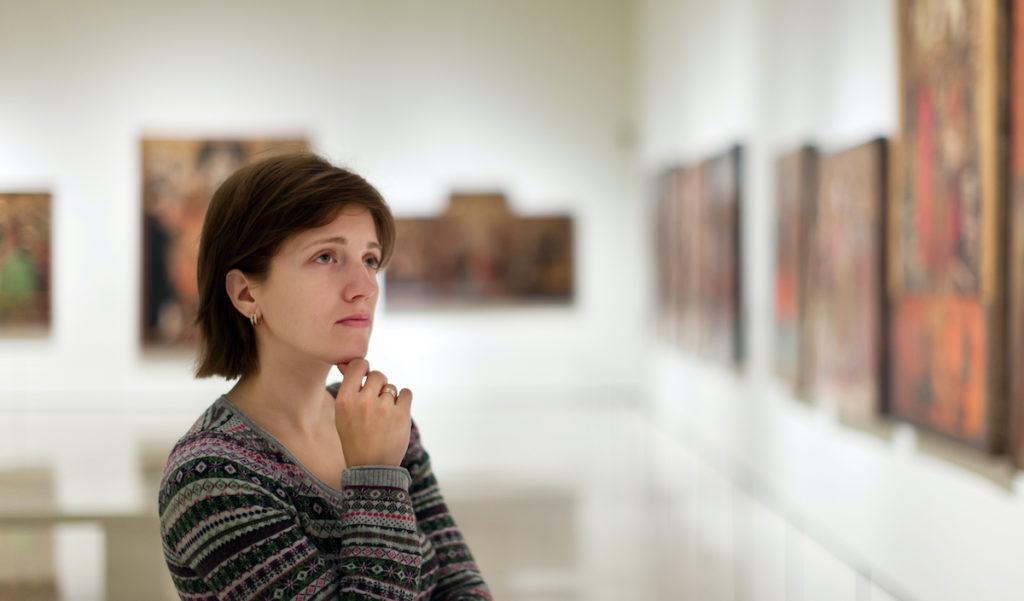 looking at artwork at a musem