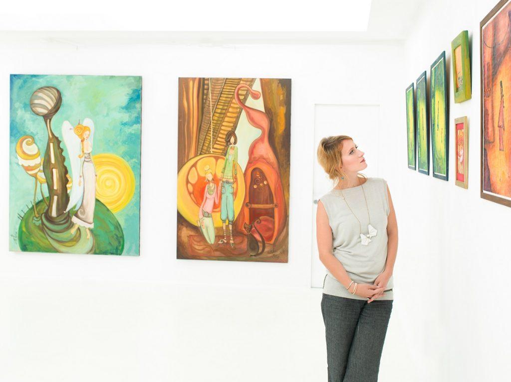 looking at artworks